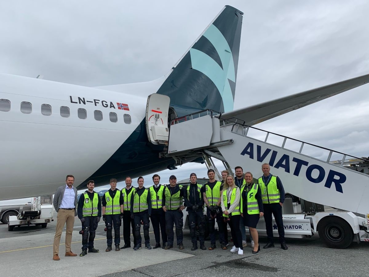 Aviator provides ground handling services for the first Flyr flight